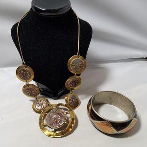 Vintage Hammered Metal Tribal Necklace & Bangle